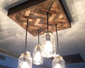 Mason jar chandelier etsy herringbone barn wood mason jar chandelier aloadofball Gallery