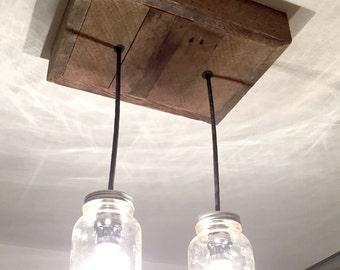 Mason jar chandelier etsy barn wood mason jar chandelier 2 jar aloadofball Gallery