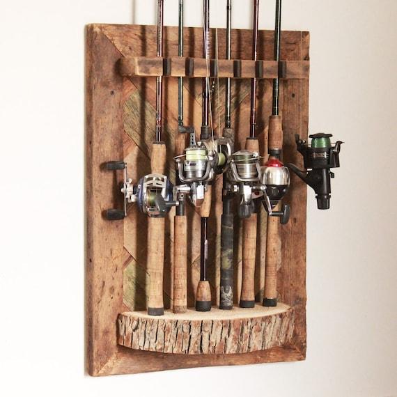 Barn Wood Fishing Rod Rack Etsy
