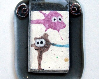 Original art OOAK - TEENY TINY painting of a deep sea diver and fish in a handmade glass picture frame