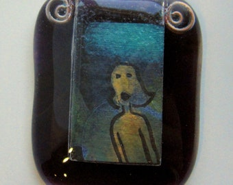 Original art OOAK - TEENY TINY painting of a woman in a handmade glass picture frame