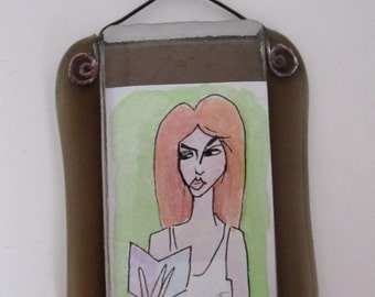 Red head painting   Etsy
