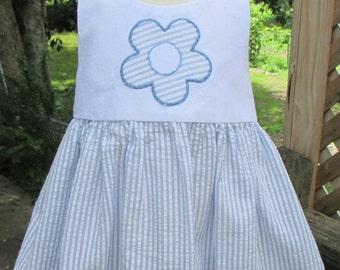 Blue Stripe Daisy Baby Dress