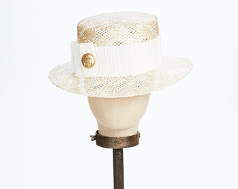 Kathy Jeanne Natural Straw Boater with Ivory Pleat and Vintage Gold Button