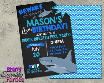 SHARK BIRTHDAY INVITATION Printable Shark Pool Party Invitation Infested Invite