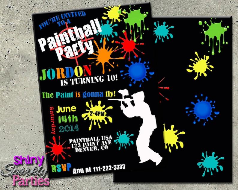PAINTBALL INVITATION Paintball BIRTHDAY Invitation
