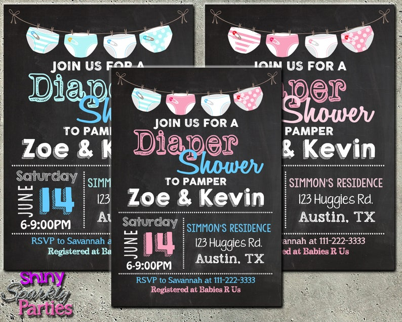 DIAPER PARTY INVITATION Diaper Shower Invitation Couples Coed And Wipes Party Baby Sprinkle