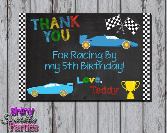 Race Car Thank You Card Racing Birthday Party Thank You Note Etsy