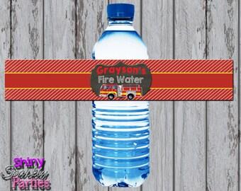 FIRETRUCK WATER Bottle LABELS, Firetruck Party Decor, Firetruck Water Wrappers, Firefighter, Fireman, Firetrucks Birthday, Water Wraps,