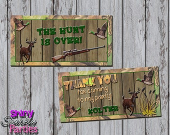 HUNTING TREAT Bag TOPPERS, Hunting Treat Toppers, Camo Treat Bag Toppers, Hunting Birthday Party Favor Toppers, Camo Party, Hunter, Outdoors