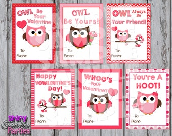 OWL VALENTINES - Printable Owl Valentine Cards - Classroom Valentines - Valentines for School Valentines for a girl - Diy Valentine Cards
