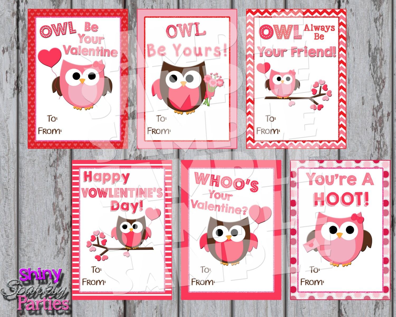 Owl Valentines Printable Owl Valentine Cards Classroom Etsy