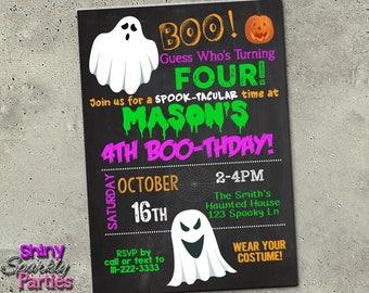 "HALLOWEEN BIRTHDAY INVITATION - ""Halloween Invitation"" - Halloween Party Invite - Costume Party - Ghost Invite - Chalkboard - Boo-thday"