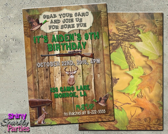 Camo Birthday Invitation Hunting Birthday Invitation Duck Hunting Invitations Camo Hunting Themed Invitation Boy S Rustic Hunter Diy