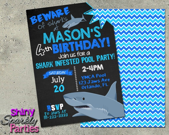 SHARK BIRTHDAY INVITATION Printable Shark Pool Party