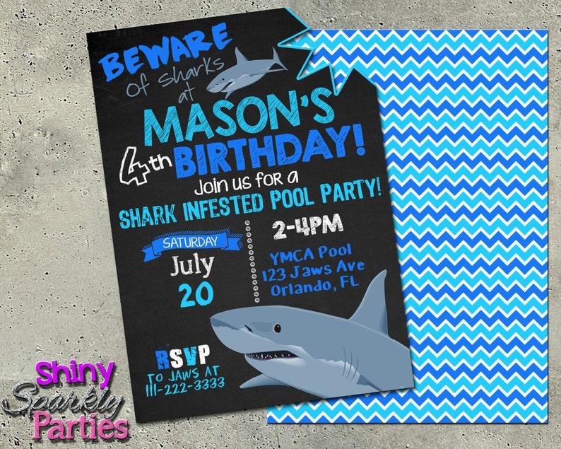 SHARK BIRTHDAY INVITATION Printable Shark Pool Party