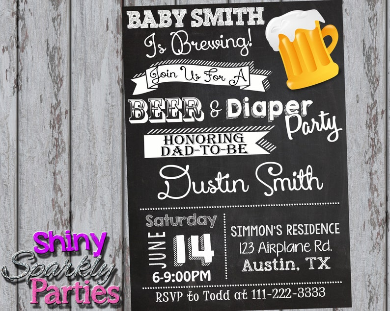 DIAPER PARTY INVITATION Couples Baby Shower Invitation Beer And Diaper Dad Coed Co Ed Diy