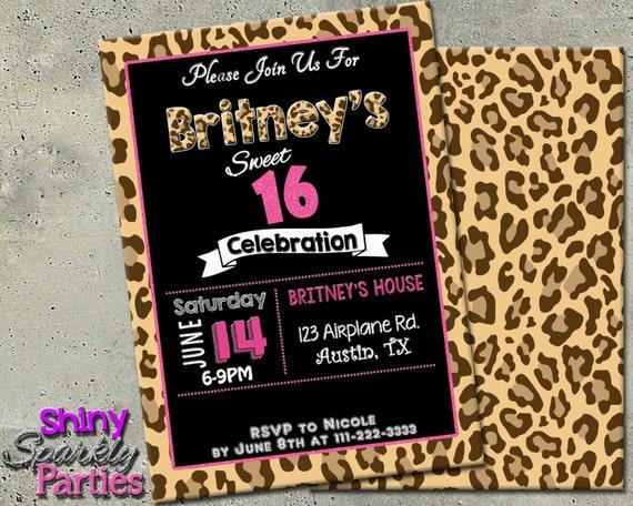 LEOPARD PRINT INVITATION Sweet 16 Birthday Invitation Pink Etsy