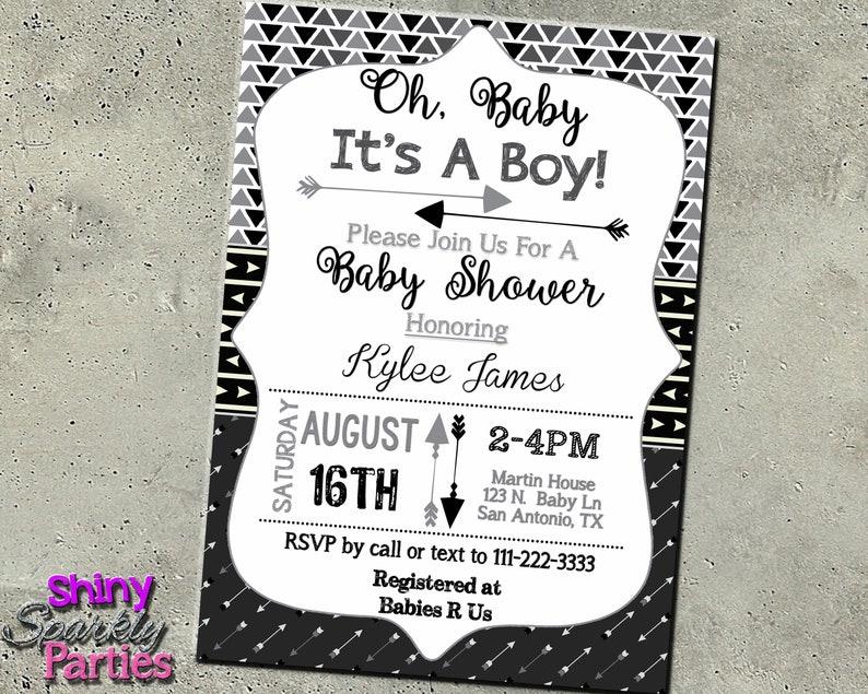 ARROW BABY SHOWER Invitation Arrows Shower Invite Rustic image 0