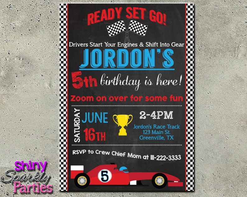 Race Car Birthday Invitation Race Car Invitation Chalkboard Etsy