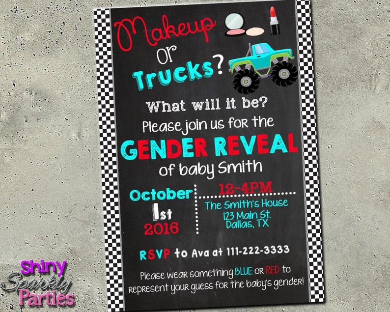 Gender Reveal Party Invitation Makeup Or Trucks Gender Etsy