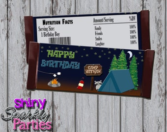 Printable CAMPING CANDY Bar WRAPPERS - Camping Birthday Party Candy Bar Wraps - Camping Chocolate Bar Wrappers - Camping Party Favors