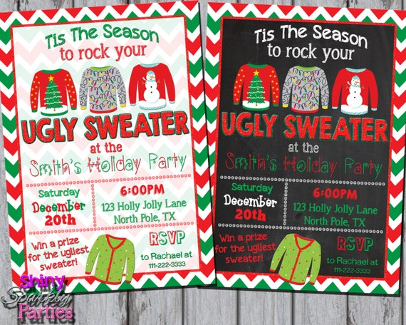 Ugly Sweater Invitation Ugly Christmas Sweater Party Invite Etsy