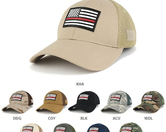 Thin Red Line American Flag 3D Rubber Tactical Patch Low Crown Adjustable Mesh Cap  (T90-USA-TRL-T80)