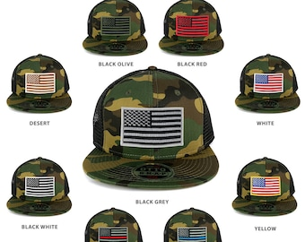 USA American Flag Iron On Patch Adjustable Camo Mesh Cap - Camo Black(153-1120-170703-CAMO)