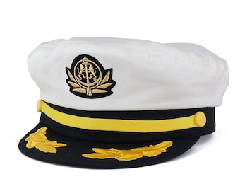 df9b66d1b19 Adjustable Gold Color Embroidery Leafs and Patch Flagship Captain Hat  (79-76)