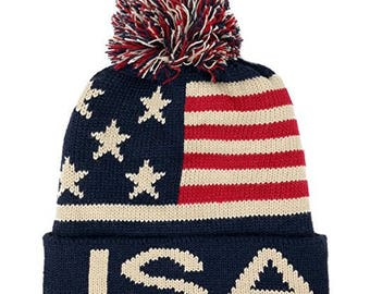 97b421c0385 Youth USA Text and Flag Winter Cuff Folded Beanie Hat with Pom Pom  (AFBHAT-01-USA)
