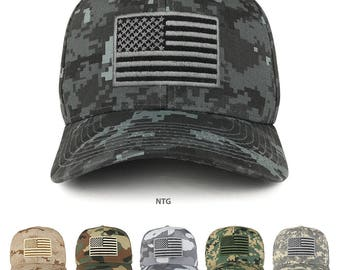 558eba82a5747 American Flag Embroidered Camo Tactical Operator Structured Cotton Cap  (T76-USA-CAMO)
