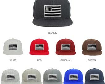 f761e85c Youth Kid Size Black White American Flag Patch Flat Bill Snapback Baseball  Cap