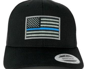 Oversize XXL Thin Blue Line USA Flag Patch Retro Trucker Mesh Cap 4cd2da04d70f
