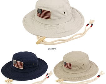 Frayed American Flag Washed Cotton Boonie Hat with Chin Cord (USA52) a27b3e5f82d2
