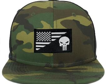 Oversize XXL Punisher Black White USA Flag Patch Camouflage Flatbill Mesh  Snapback Cap 9a2e2c7e6fc1