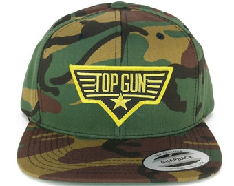 e39257d78ad FLEXFIT Top Gun Black Yellow Embroidered Iron on Patch Flat Bill Snapback  Cap - CAMO (6089M-PM246-CAMO)