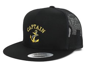 Oversize XXL Captain Anchor Logo Embroidered 5 Panel Flatbill Snapback Mesh  Cap cd3f02ef0e21