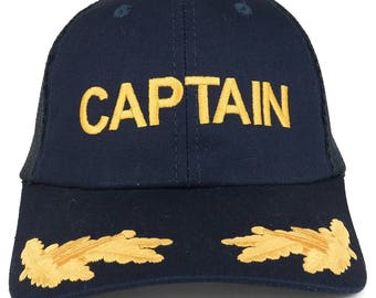 Captain and Gold Leaves Embroidered Cotton Twill Mesh Back Baseball Cap  (76-483) cc27ba3af076