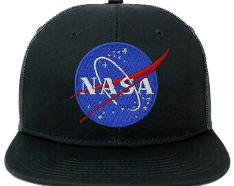 2787fa517a23b Oversize XXL NASA Insignia Logo Patch Flatbill Mesh Snapback Cap
