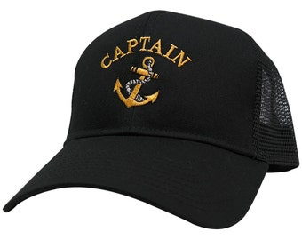 Captain Ships Anchor Embroidered Trucker Mesh Cap - 3 Colors 907eed722652