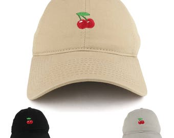 Small Cherry Embroidered Washed Cotton Soft Crown Adjustable Dad Hat -  Available in 3 Colors! (C03-CHERRY) 8906dc40440c