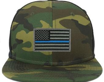 Oversize XXL Thin Blue Line USA Flag Patch Camouflage Flatbill Mesh  Snapback Cap 99ab873bb8f0
