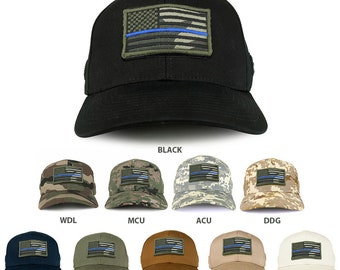 USA Woodland Thin Blue Flag Tactical Patch Structured Baseball Cap  (T75-WDL-TB) 5bf8942d8a7a