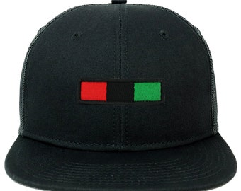 13c6630d5564d4 Oversize XXL Red Black Green Bar Patch Flatbill Mesh Snapback Cap