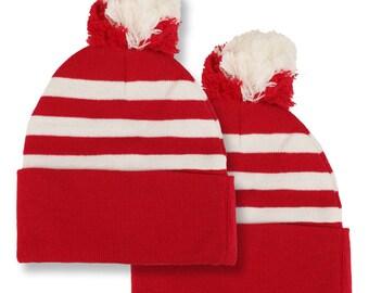 263b29b2a0e Waldo Costume Red White STRIPED Pom Pom Cuff Beanie Hat and Shirt SET