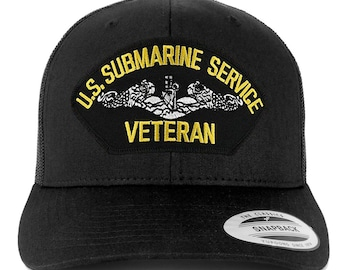 44d4d299844 Oversize XXL US Submarine Veteran Large Patch Retro Trucker Mesh Cap