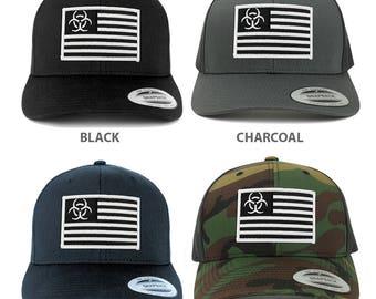 Biohazard Black White American Flag Embroidered Patch Mesh Back Trucker Cap  (6606-USA-FLAG-48) d453e6985eb6