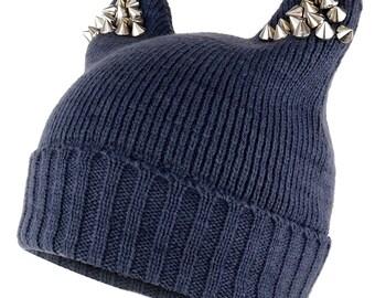 810dd68eabb Pussyhat Women s Spiked Stud Cat Ear Beanie Hat (30205)