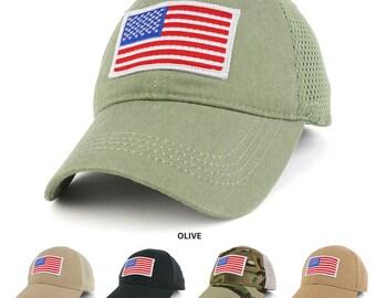 USA bandiera americana bianco ricamato Patch tattico con Mesh operatore Cap  (CE-70609-USA-Wht-Mesh) 15a12362b5dc